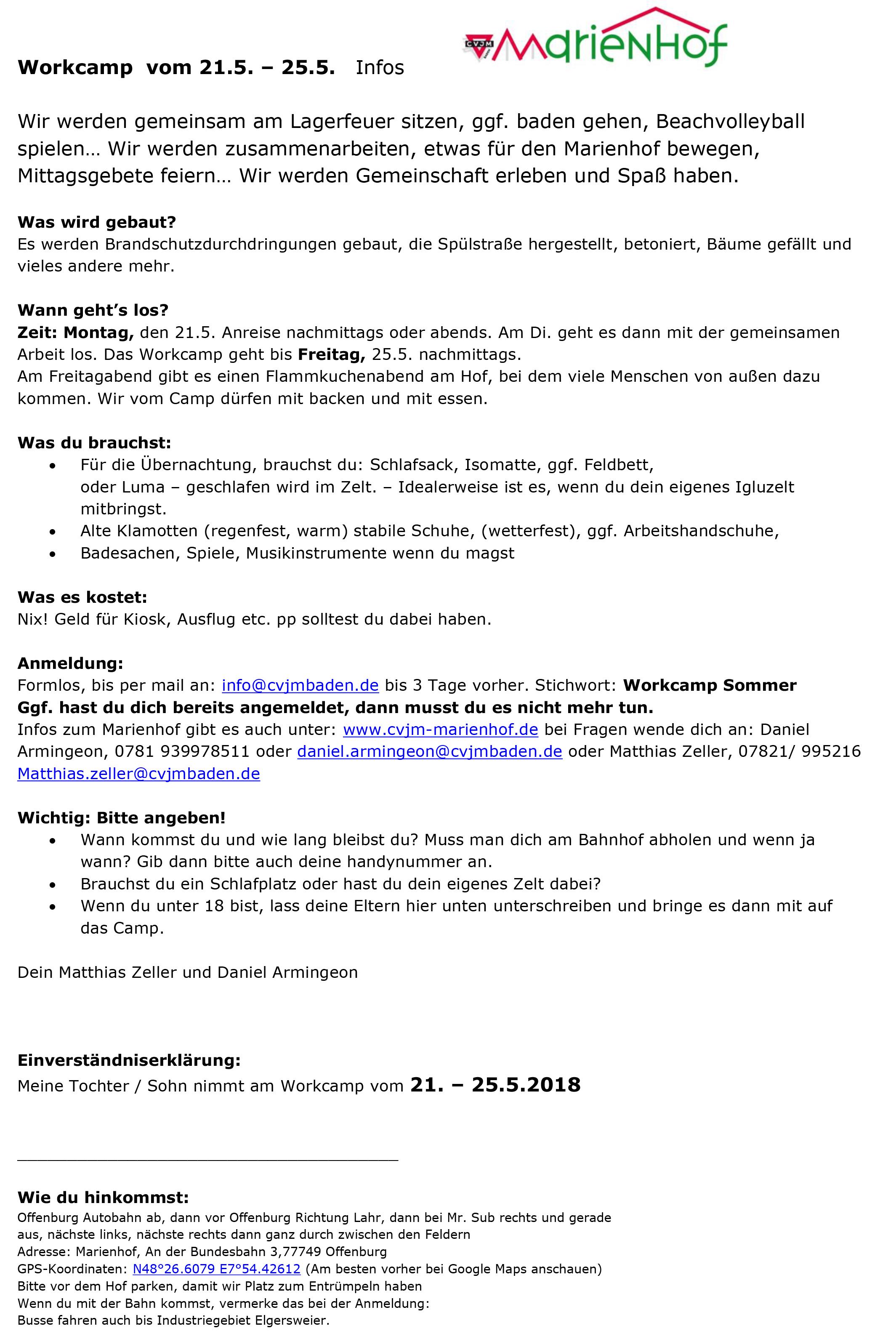 Infobrief Workcamp Pfingsten 2018 Marienhof
